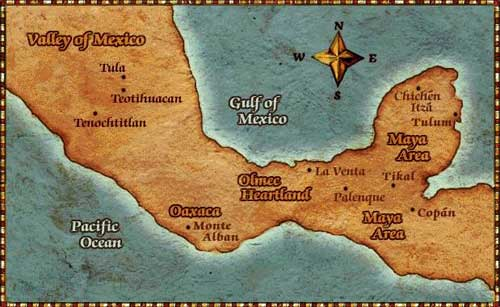 Ancient American World – Aztec Mexico Map
